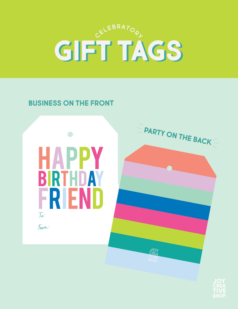 Happy Birthday Friend TO FROM Tag, Gift Tag, To From Tag, Colorful, Birthday Gift, Large Tag, Striped Back 002ET - Joy Creative Shop