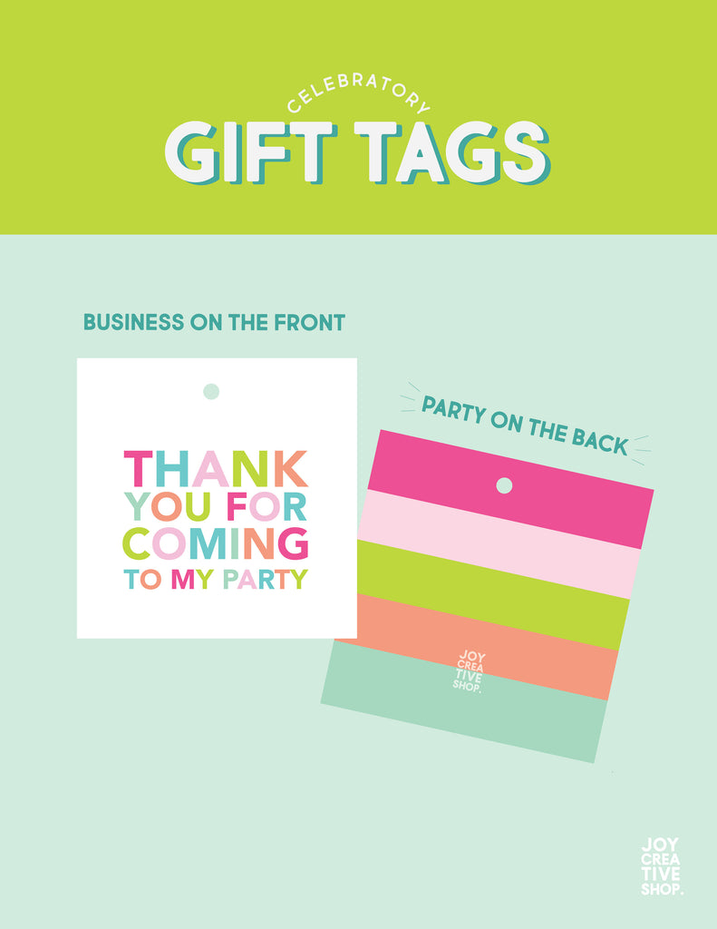 Thank You For Coming To My Party Pink Tag, Party Favor Gift Tag, Birthday Tag, Colorful, Birthday Favor, Square Tag, Striped Back 001ETS - Joy Creative Shop