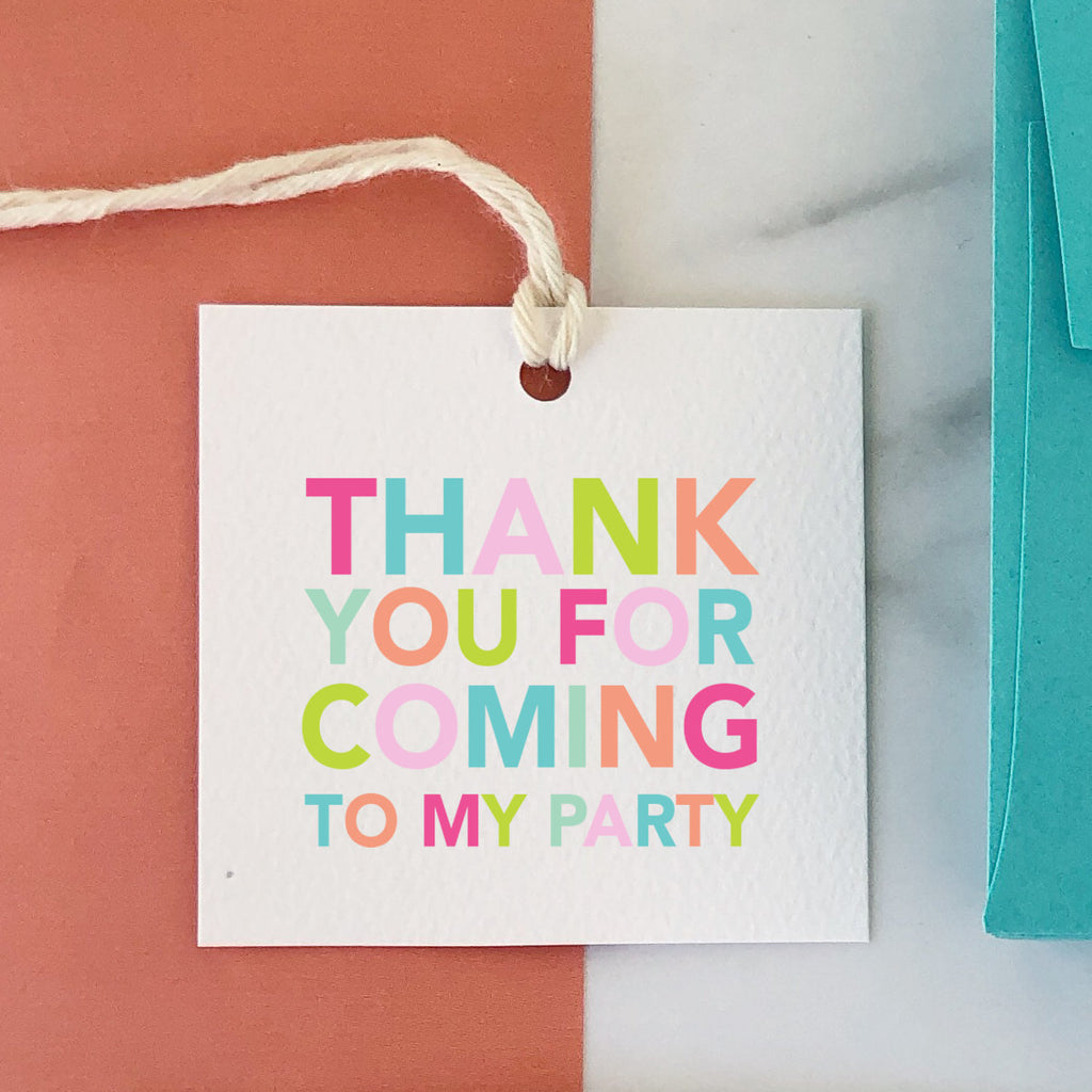 Thank You For Coming To My Party Pink Tag, Party Favor Gift Tag, Birthday Tag, Colorful, Birthday Favor, Square Tag, Striped Back 001ETS - Joy