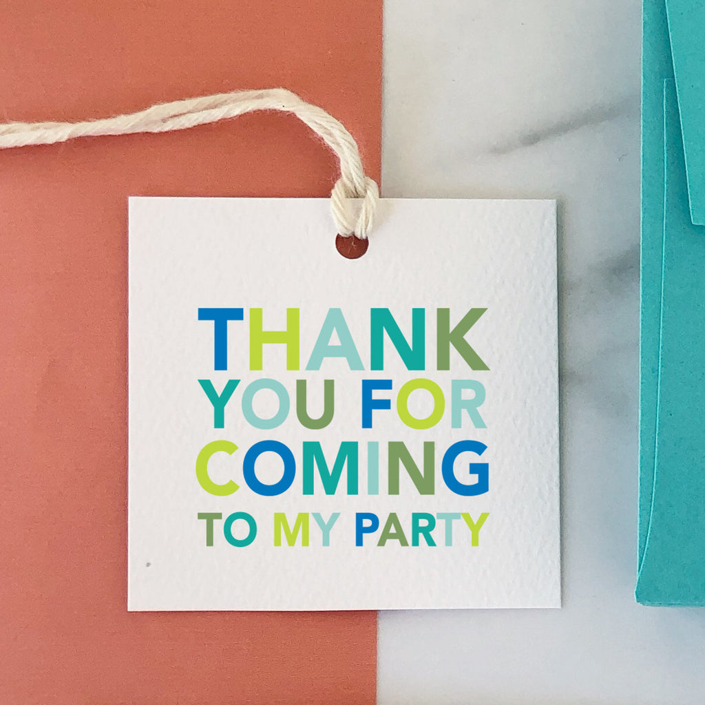 Thank You For Coming To My Party Blue Tag, Party Favor Gift Tag, Birthday Tag, Colorful, Birthday Favor, Square Tag, Striped Back 002ETS - Joy