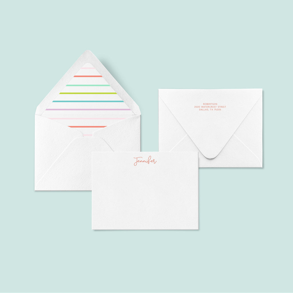 LUXE stationery set - Pastel Stripe, Personalized Stationery, Custom Thank You Cards, Bridesmaids Gifts, Kids Notecards, Custom Stationery -