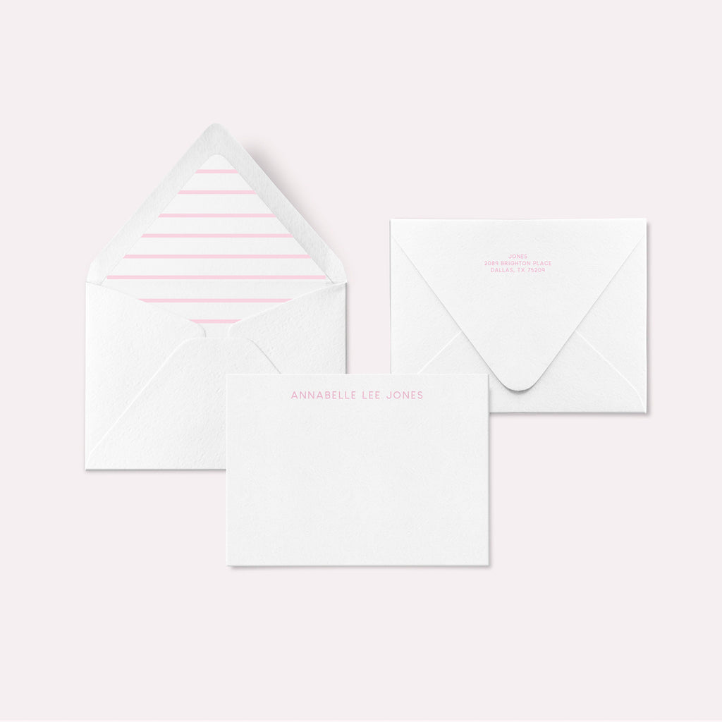 LUXE stationery set - Light Pink Stripe, Personalized Stationery, Custom Thank You Cards, Bridesmaids Gifts, Custom Stationery - Joy Creative