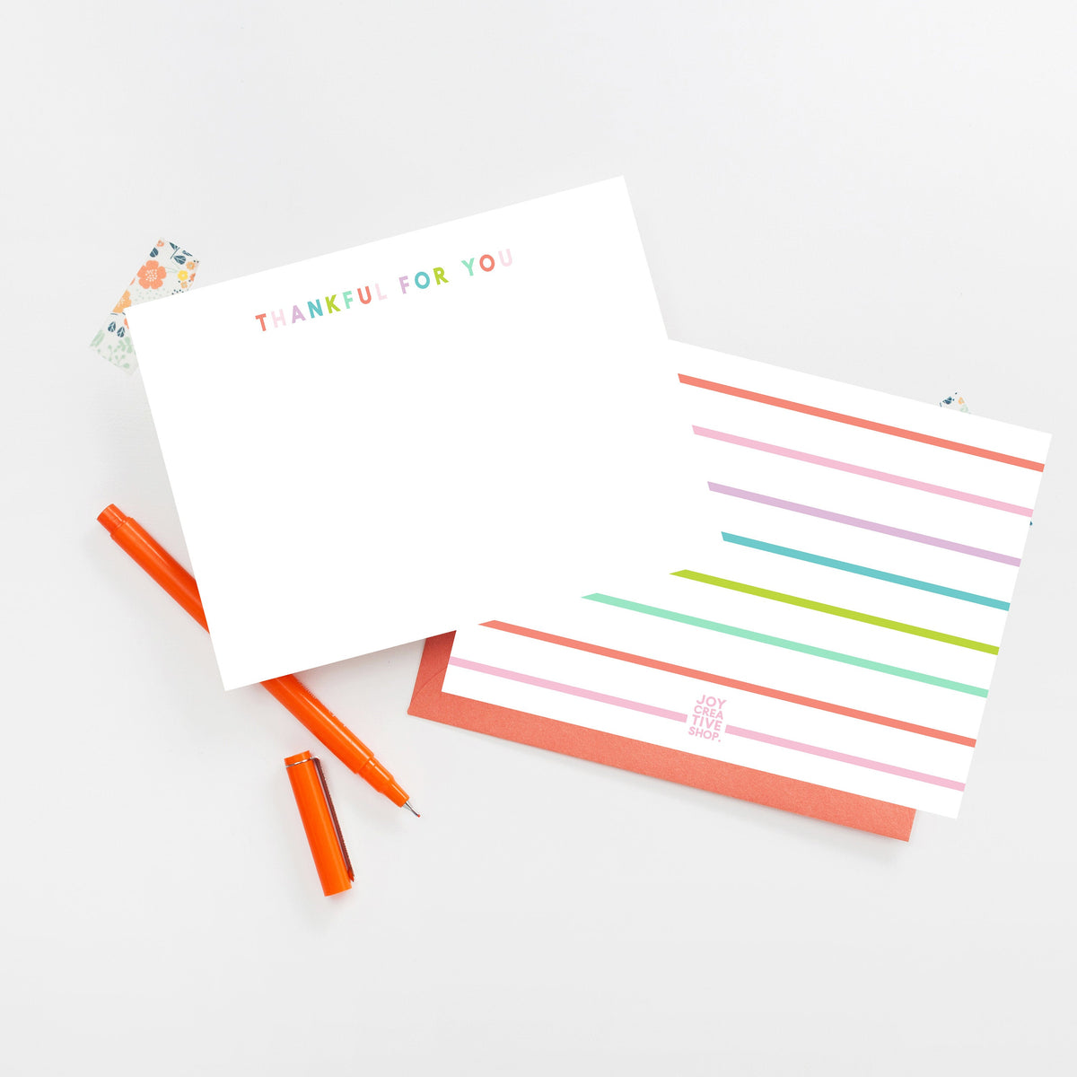 Thankful For You Notecard, Colorful Thank You Note, Striped Back Notecard, Thank You Notes, Stationery, Gratitude Note Card 003ENC - Joy Creative Shop