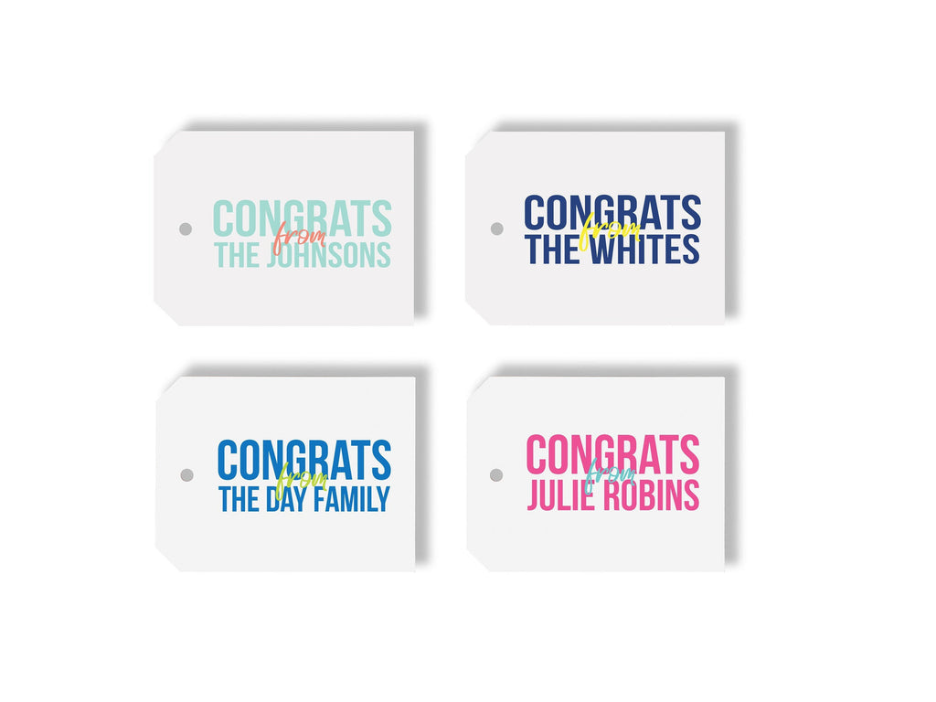 Congrats From Personalized Gift Tag, Custom Name Gift Tag, Kids Gift Tag, Couples Gift Tag, Graduation Gift Tag, Congratulations XL Tag 014T - Joy Creative Shop