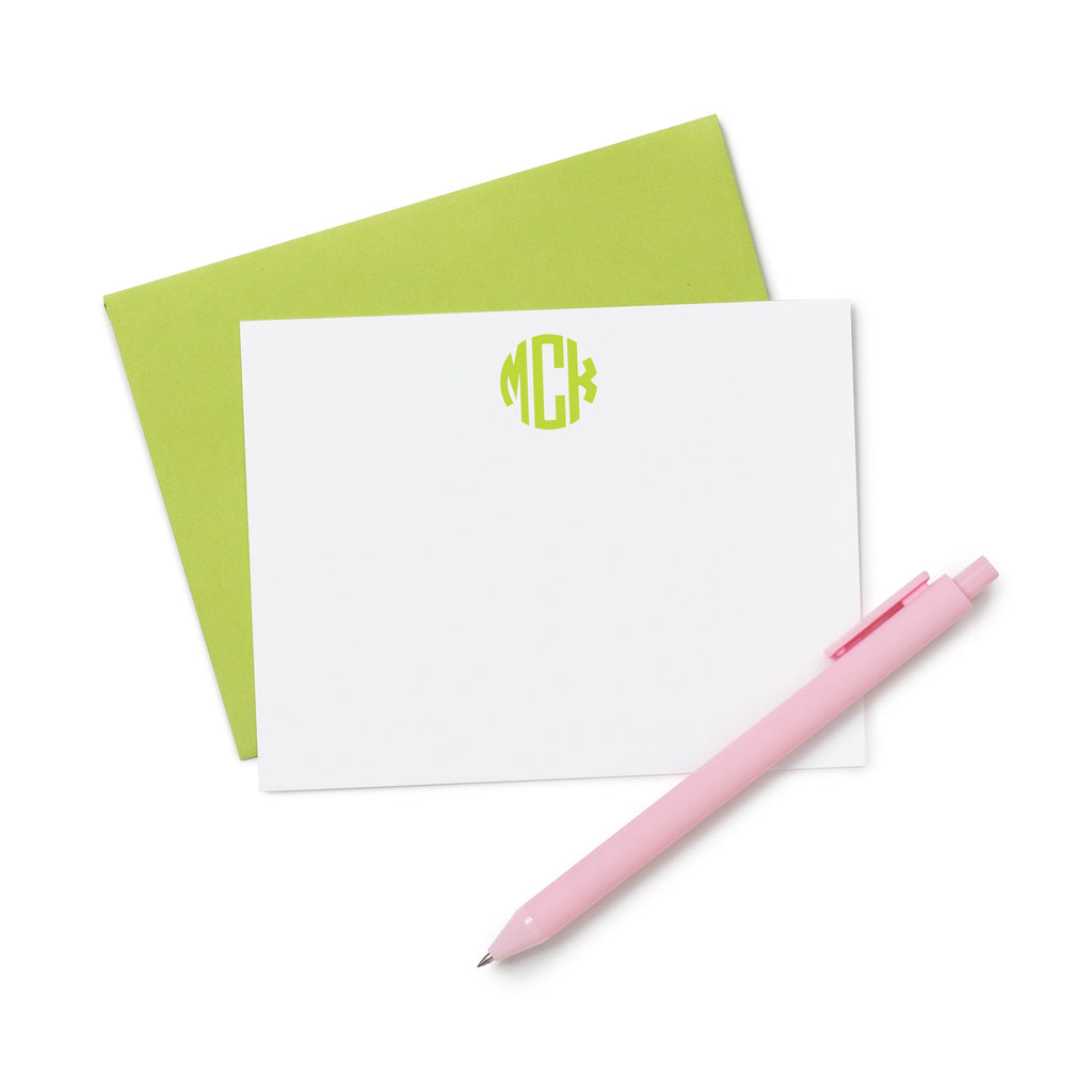 Circle Monogram Stationery, Personalized Stationery, Personalized Note Cards, Hostess Gift, Wedding Thank You Cards, Thank You Notes 046NC - Joy Creative Shop
