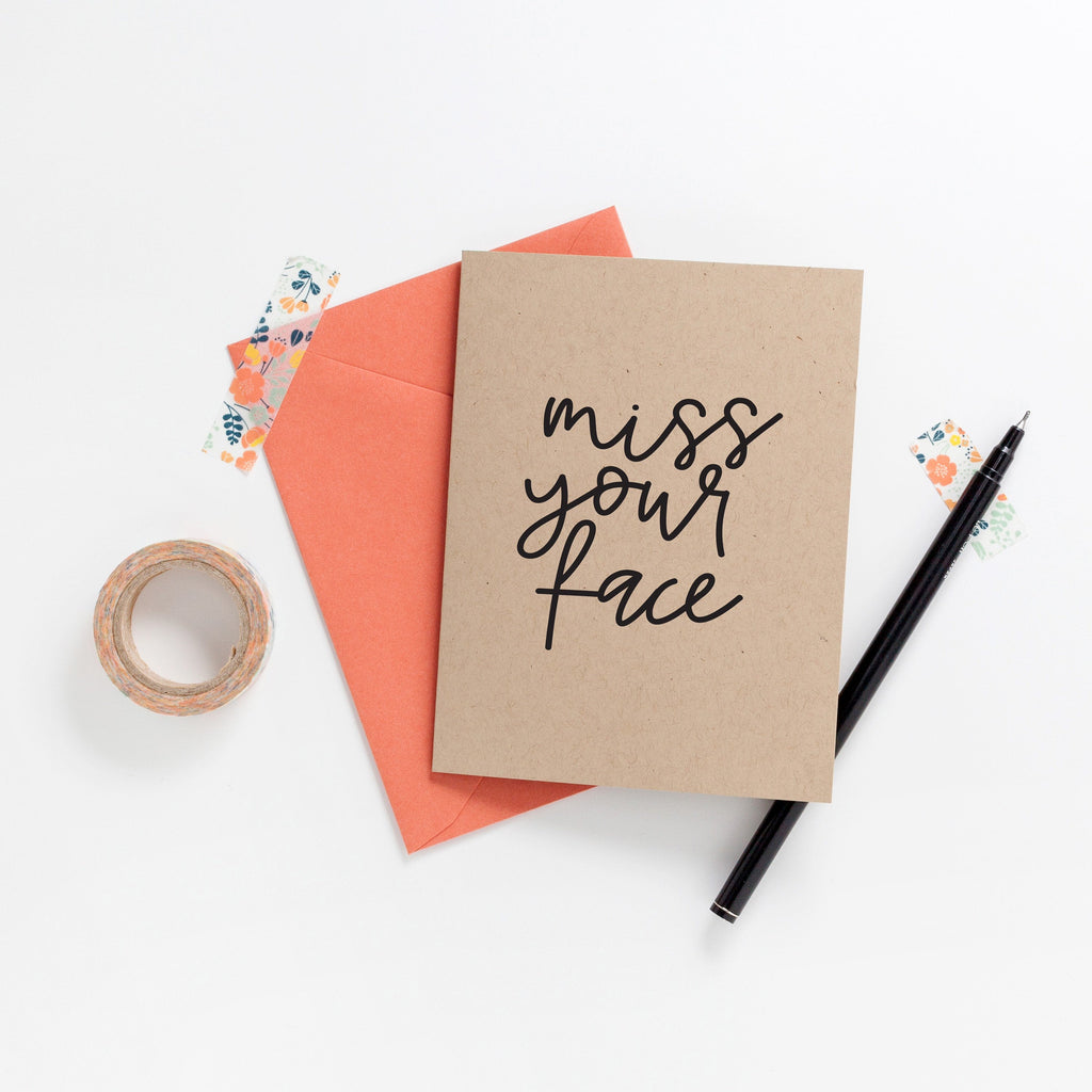 Miss Your Face Greeting Card on Kraft, Greeting Card, Hand Lettered Card, Friend Card, Encouragement Card, Love Card, Congratulations Card -