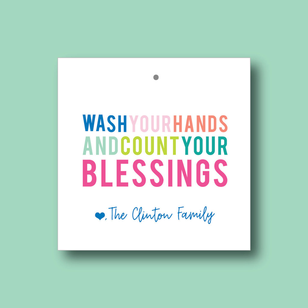 Wash Your Hands & Count Your Blessings Tag, Custom Name Gift Tag, Couples Gift Tag, Square Gift Tag, Striped Back Tag 017T - Joy Creative Shop