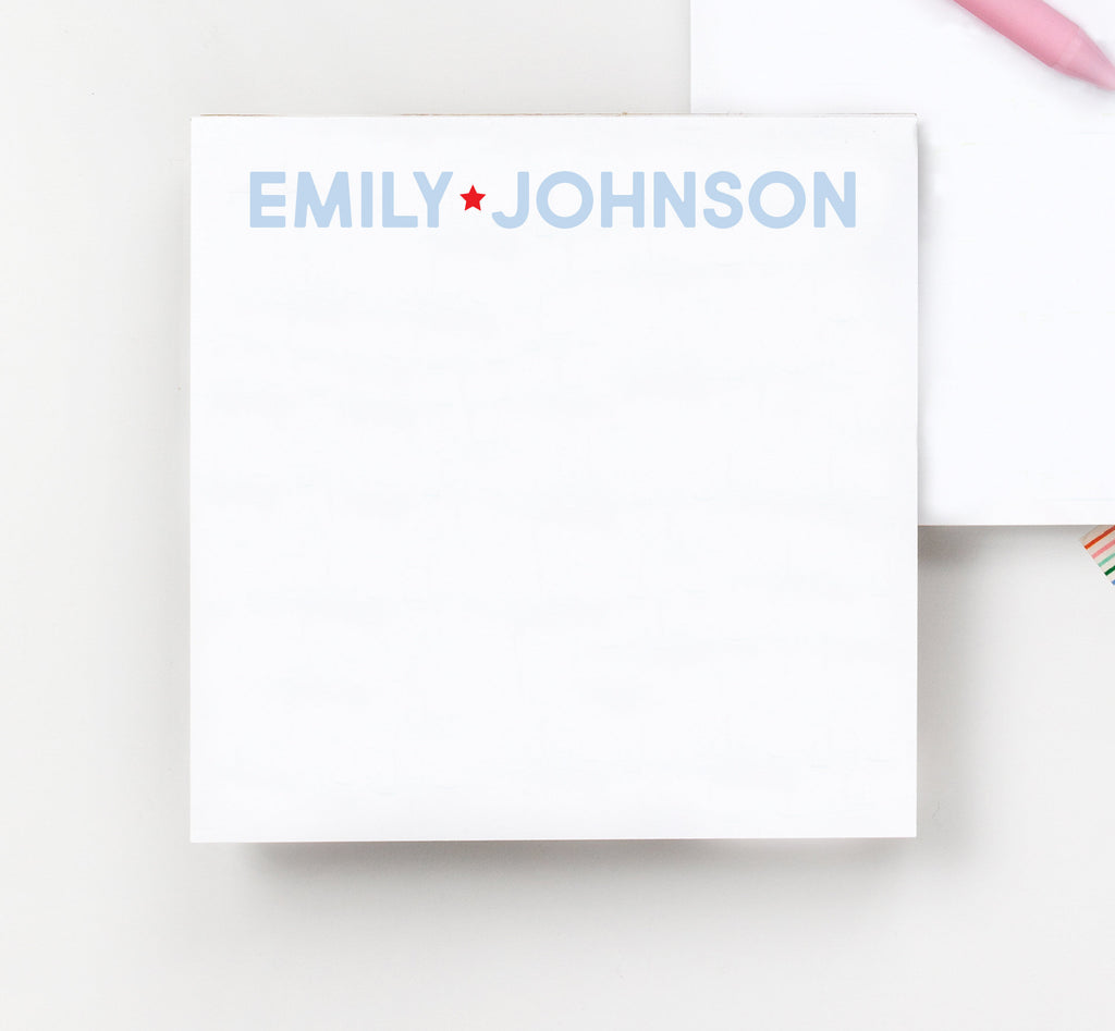 Star Collection Square Notepad, Personalized Family Notepad, Monogram notepad, Square Notepad, Block Notebook, Custom Notepad - Joy Creative Shop