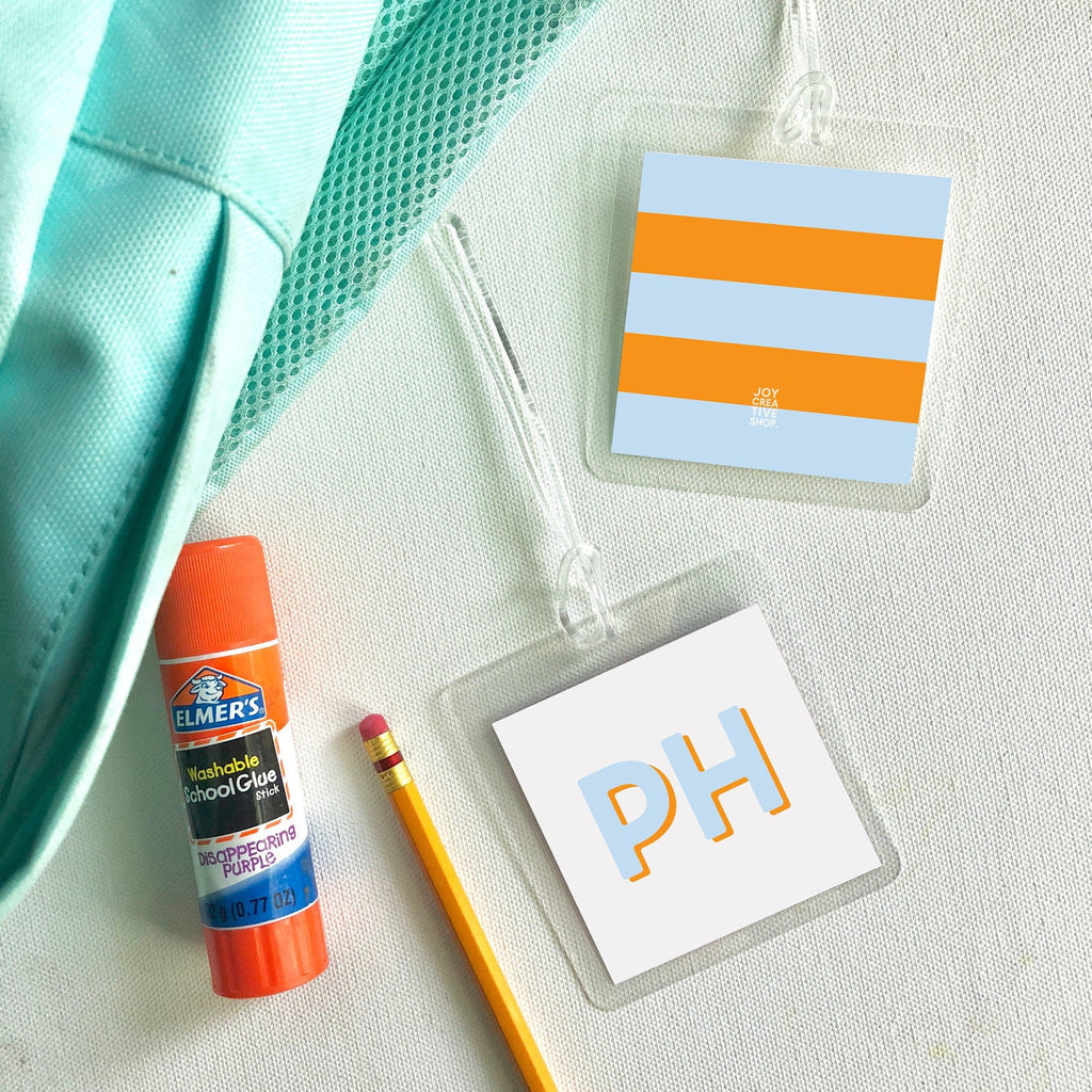 Modern Classics Monogram Backpack Tag, kids bag tag, luggage tag, diaper bag tag - bag tag for kids - personalized bag tag - Joy Creative Shop