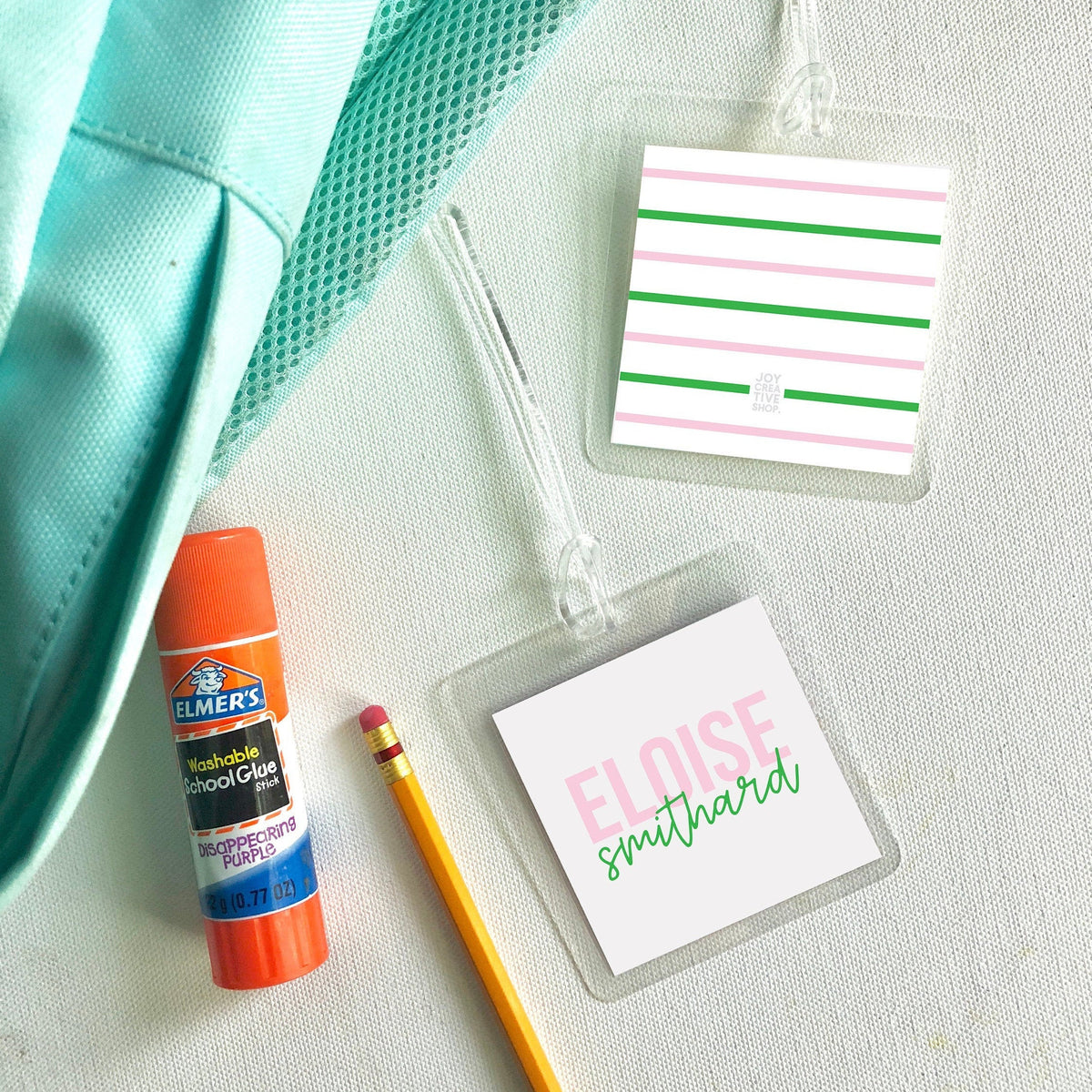 Preppy Monogram Backpack Tag, kids bag tag, luggage tag, diaper bag tag - bag tag for kids - personalized bag tag - Joy Creative Shop