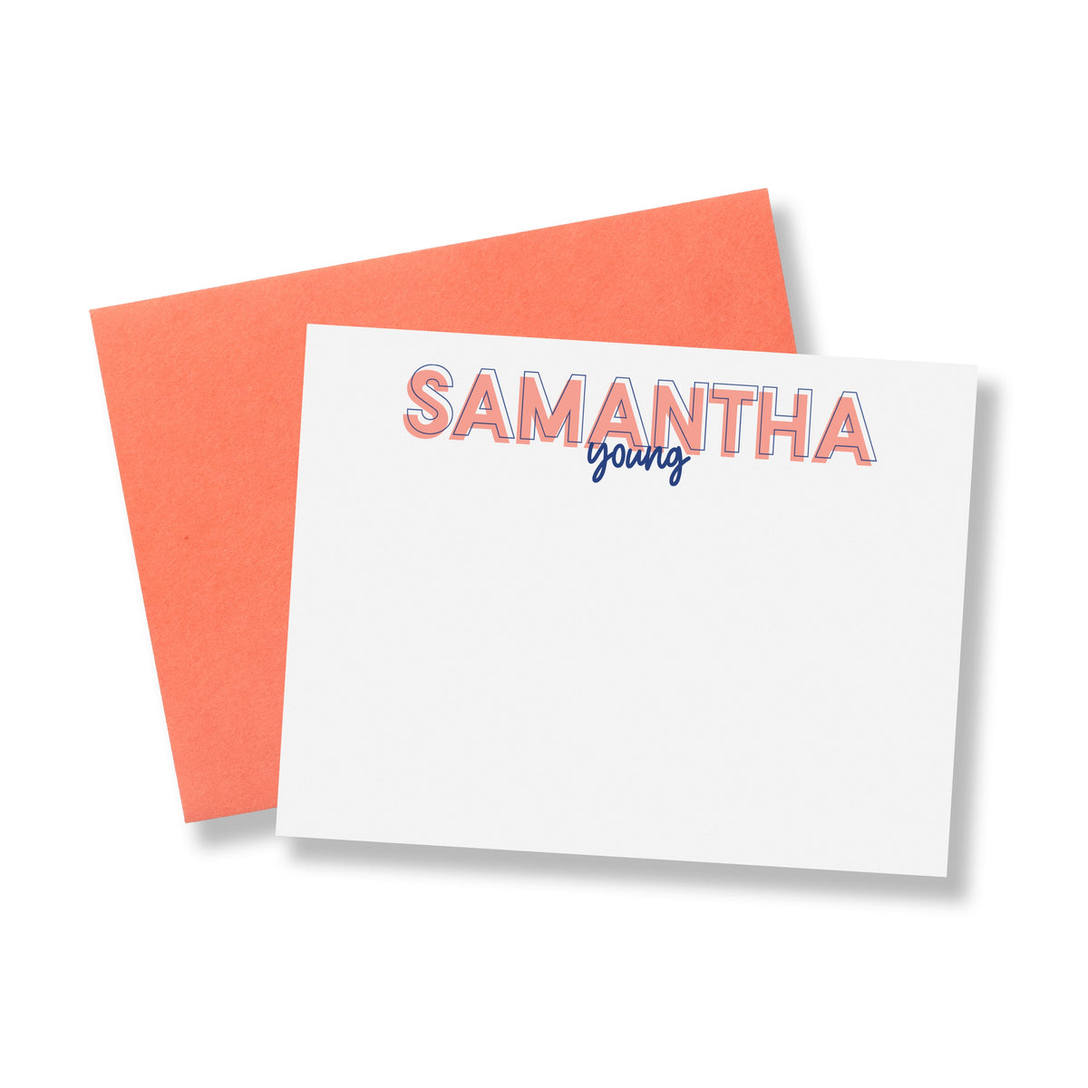 Outline Block and Script Lettered Personalized Stationery