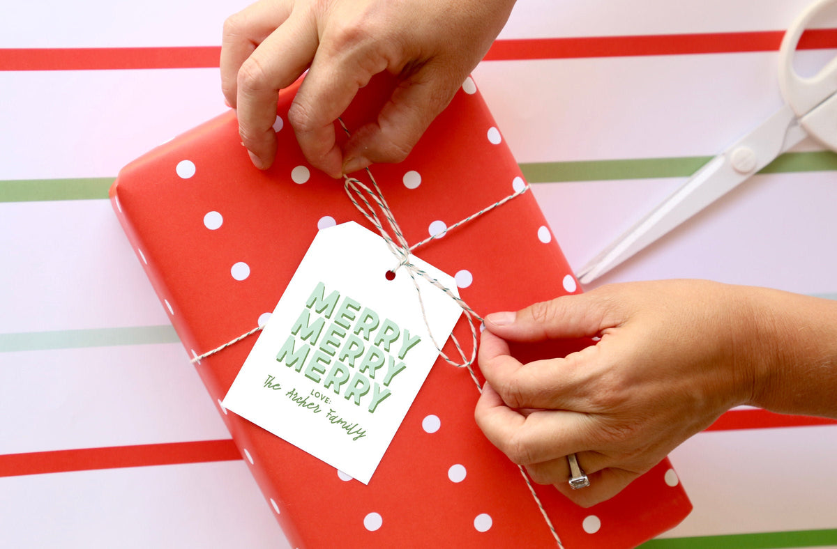 Merry, Merry, Merry Custom Christmas Gift Tag