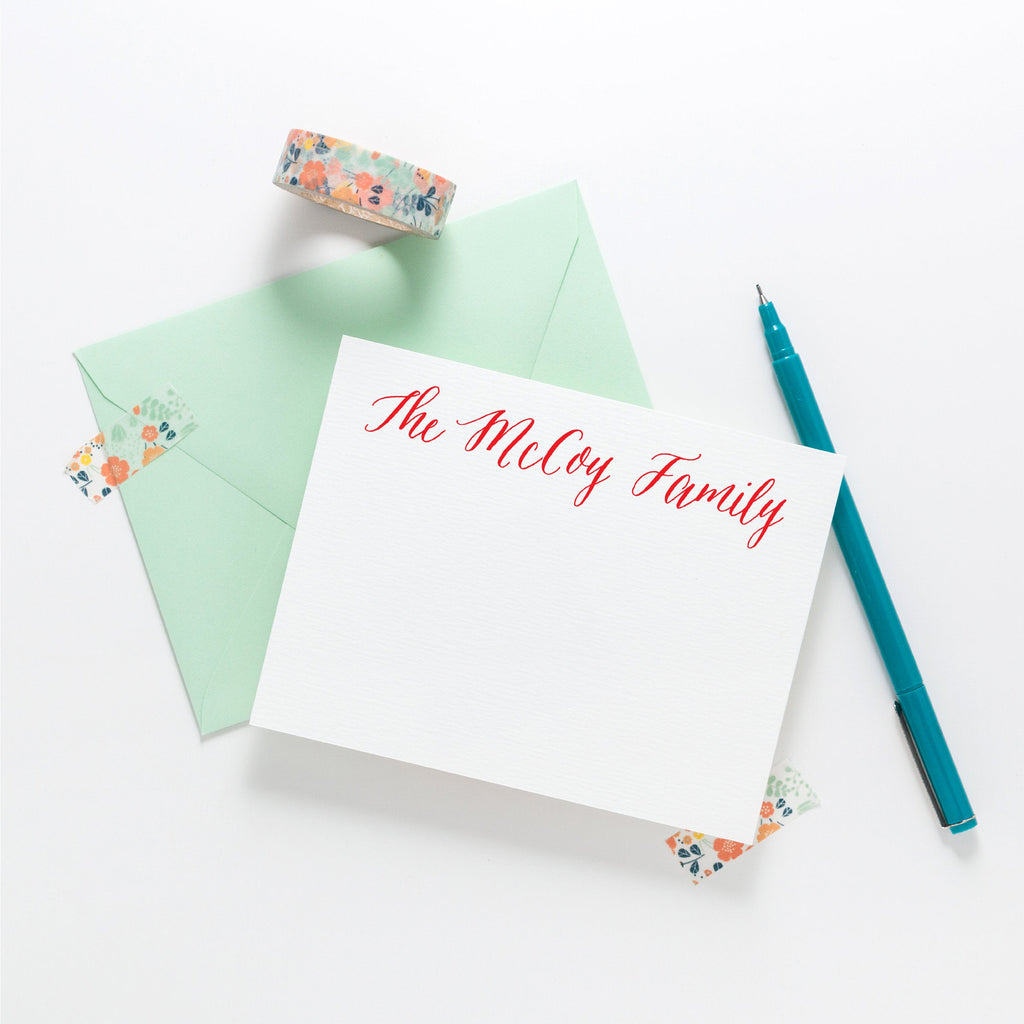 Calligraphy Holiday Stationery - Personalized Stationery, family custom stationery, Christmas thank you notes, Holiday Gift 002HNC