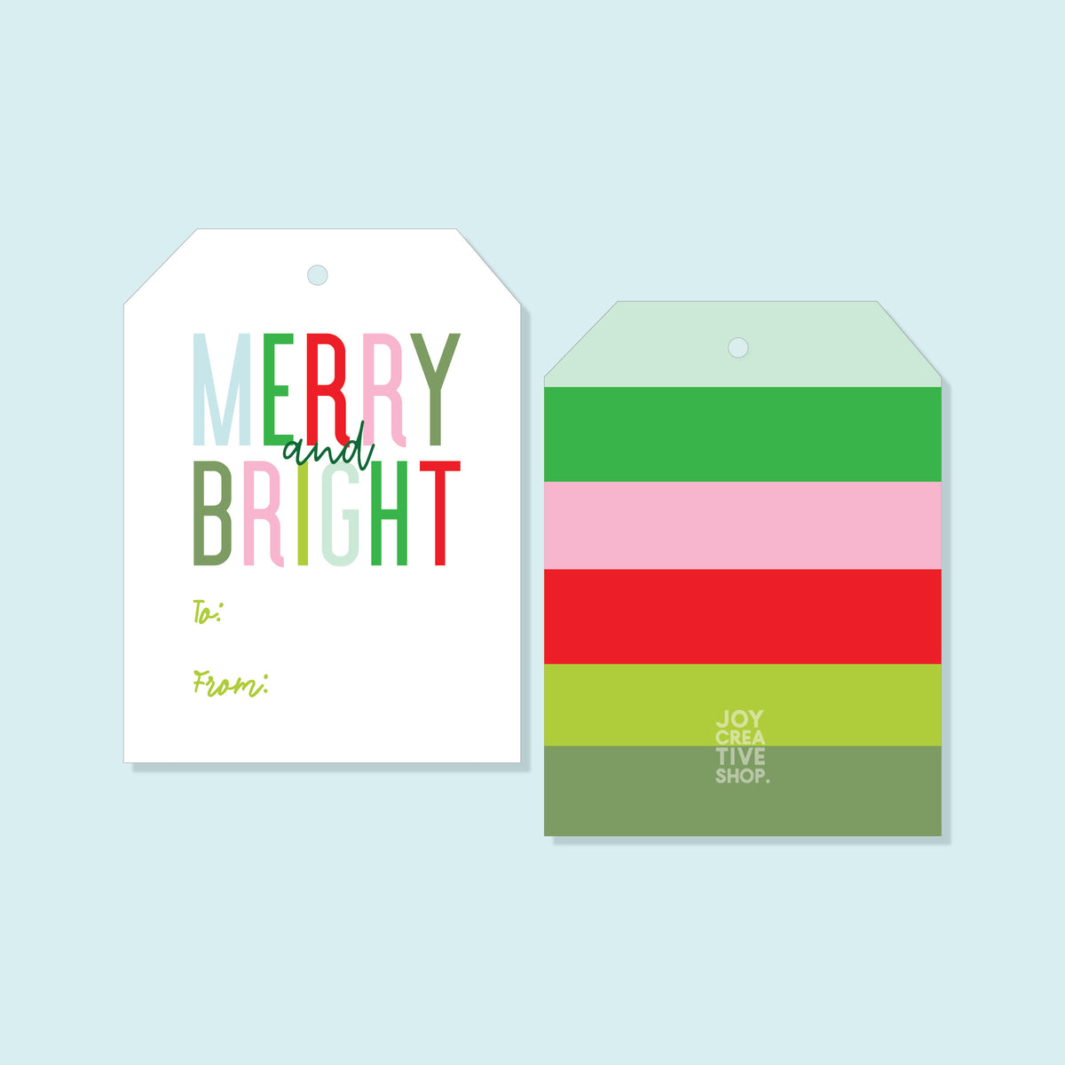 TO FROM Merry and Bright Holiday Gift Tag