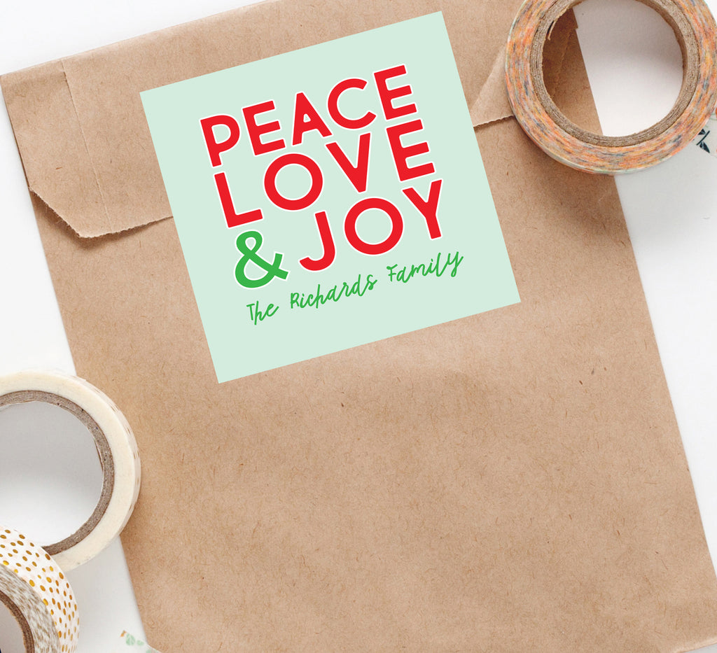 Peace Love and Joy Holiday Sticker, Square Stickers, Personalized Stickers Labels, Custom Stickers, holiday stickers 001HS 2020