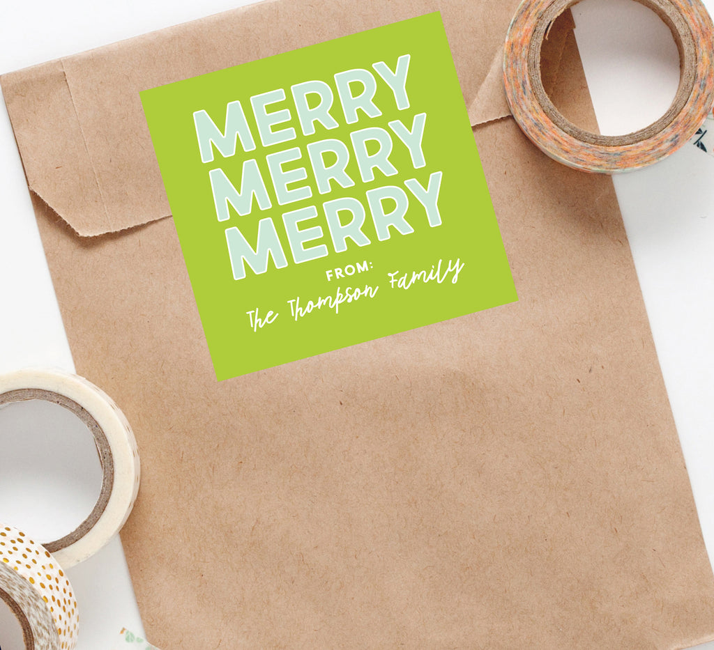 Merry Merry Merry Holiday Sticker, Square Stickers, Personalized Stickers Labels, Custom Stickers, holiday stickers 003HS 2020