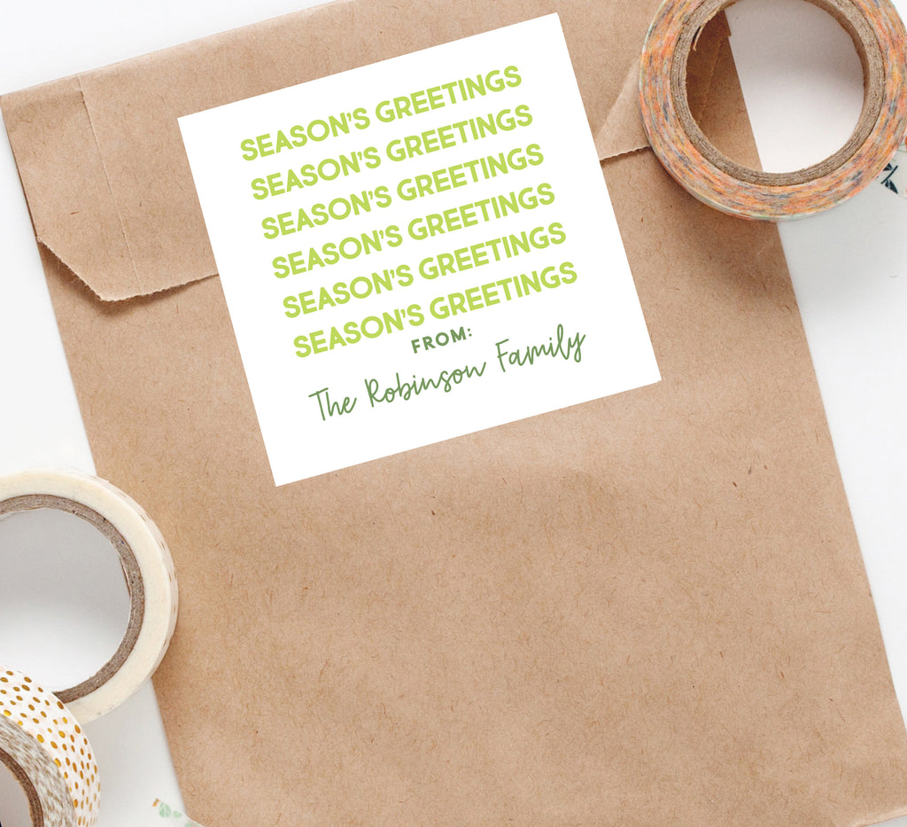 Seasons Greetings Holiday Sticker, Square Stickers, Personalized Stickers Labels, Custom Stickers, holiday stickers 006HS 2020