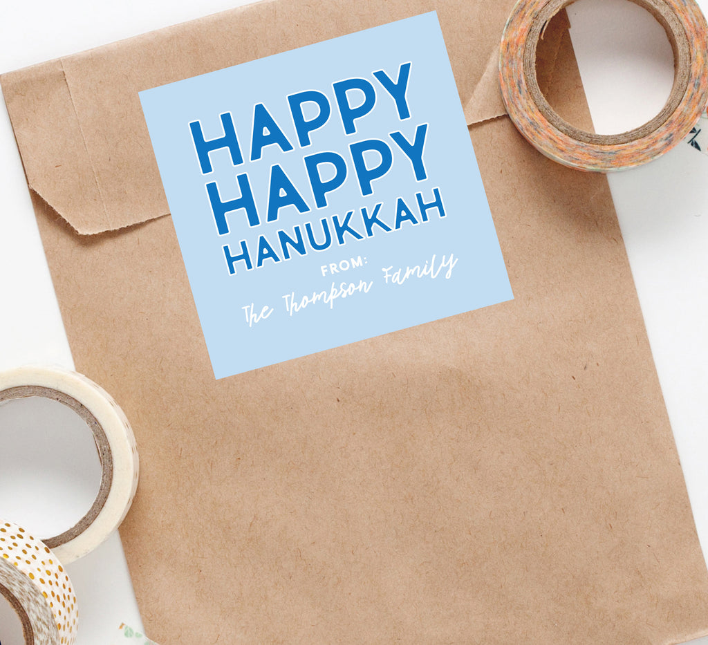 Happy, Happy Hanukkah Custom Sticker, Square Stickers, Personalized Stickers Labels, Custom Stickers, holiday stickers 010HS 2020
