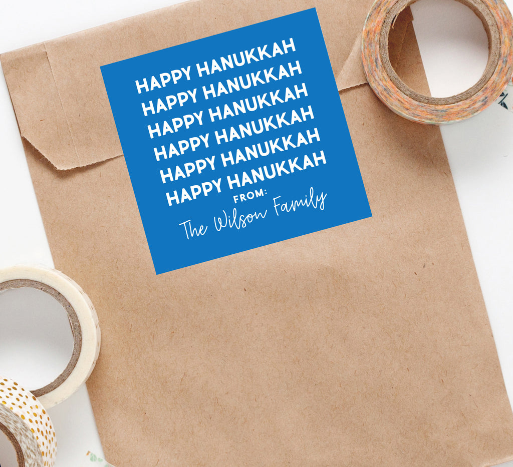 Happy Hanukkah Custom Sticker, Square Stickers, Personalized Stickers Labels, Custom Stickers, holiday stickers 009HS 2020
