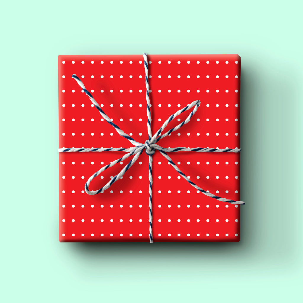 Red dot gift wrap, everyday wrapping paper, birthday gift wrap, christmas wrapping paper, holiday wrapping paper