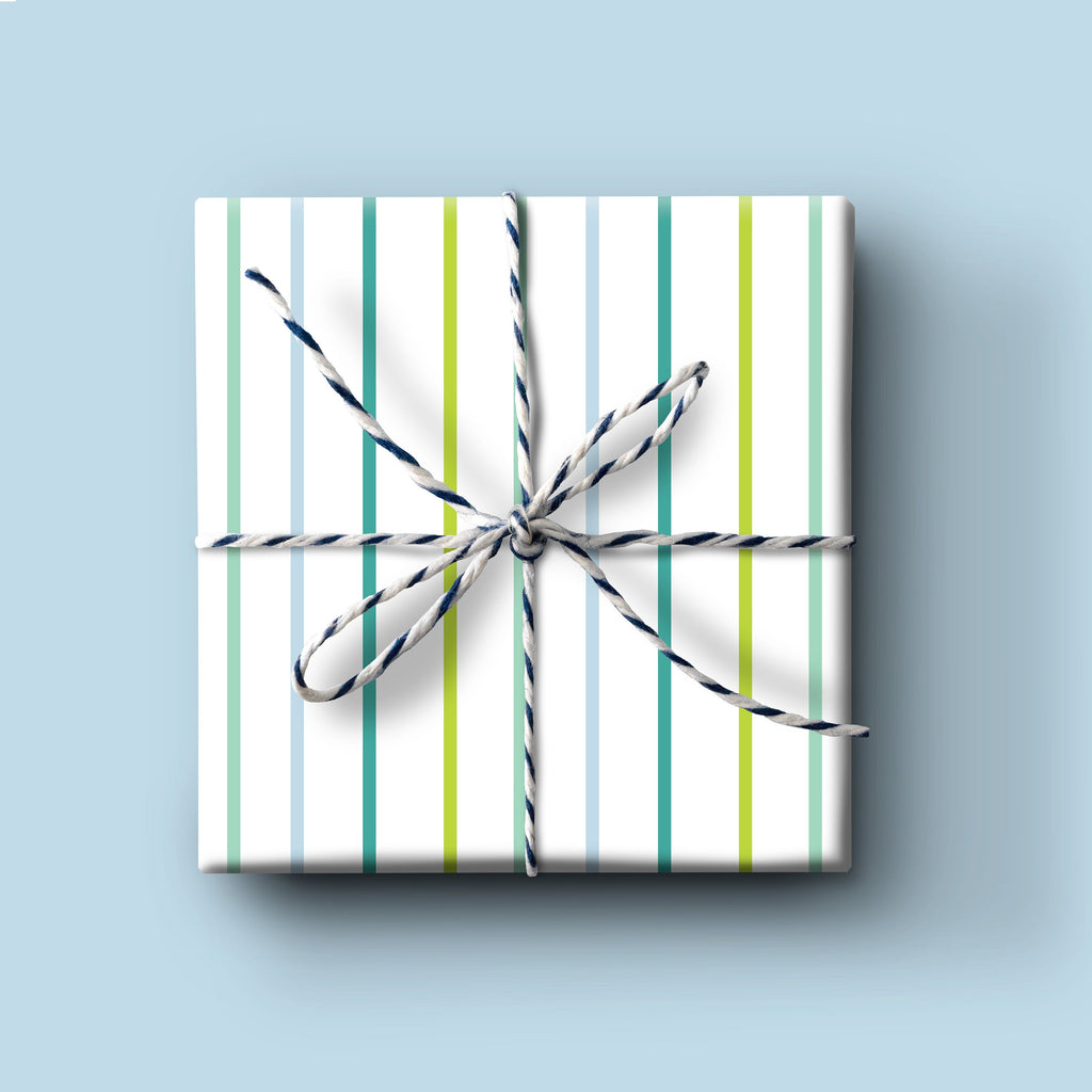 Blue Thin Stripe Gift Wrap, everyday wrapping paper, birthday gift wrap, birthday boy wrapping paper, holiday wrapping paper