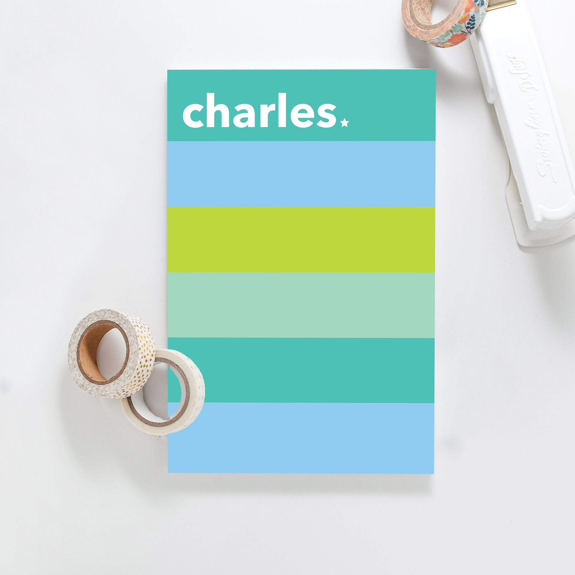 Color Block Blues/Greens Notepad, Custom Notepad, Personalized Paper Goods, Kids Notepad, Gift Notepad, Custom Gift 037NP