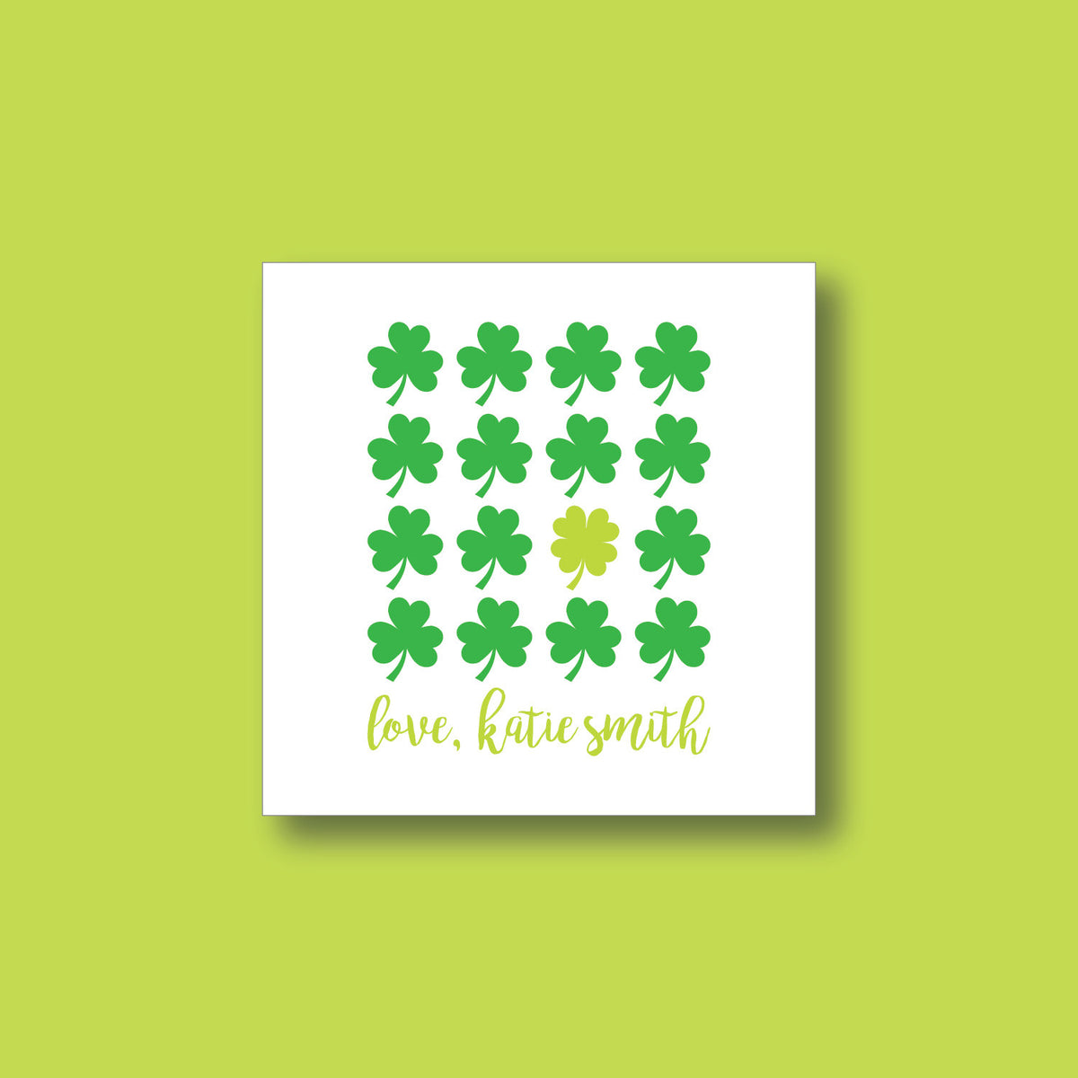 St. Patrick's Day Sticker, Custom Personalized St. Patrick's Day Sticker, Shamrock Sticker, Four-Leaf Clover Sticker 032S