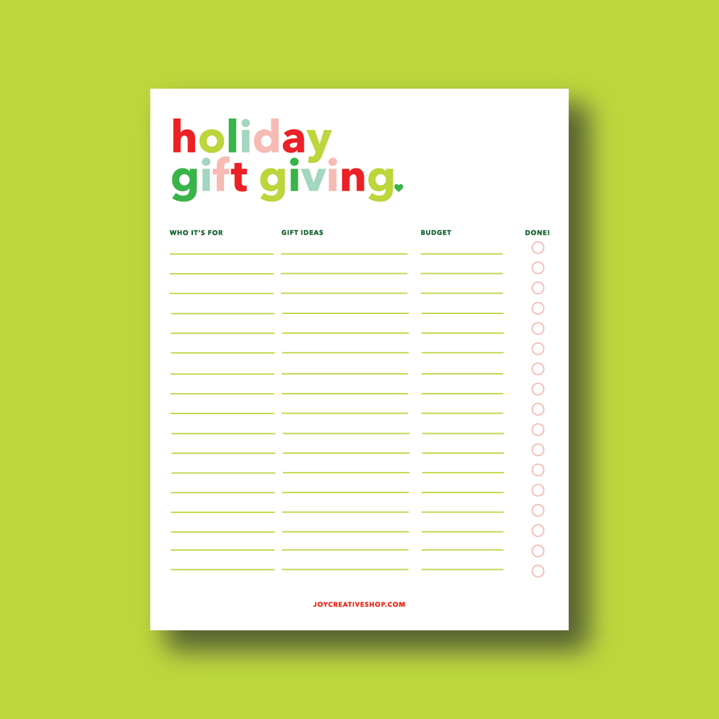 Holiday Gift Giving (FREE) Printable