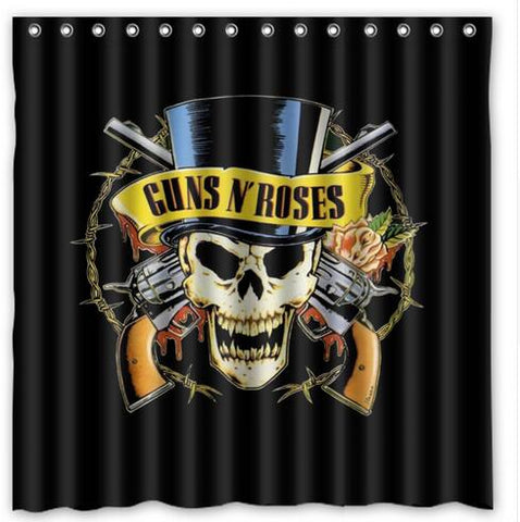 Guns N Roses Revolvers Skull Cylinder Fabric Shower Curtain Waterproof Mildew Proof Curtains