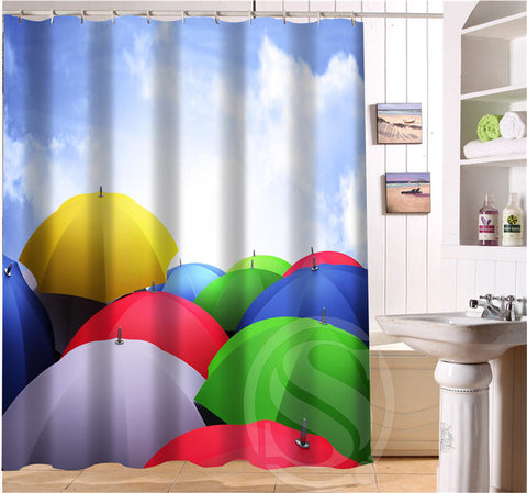 Coloured Fluorescent Decorative Pattern Shower Curtain Eco Friendly Ring