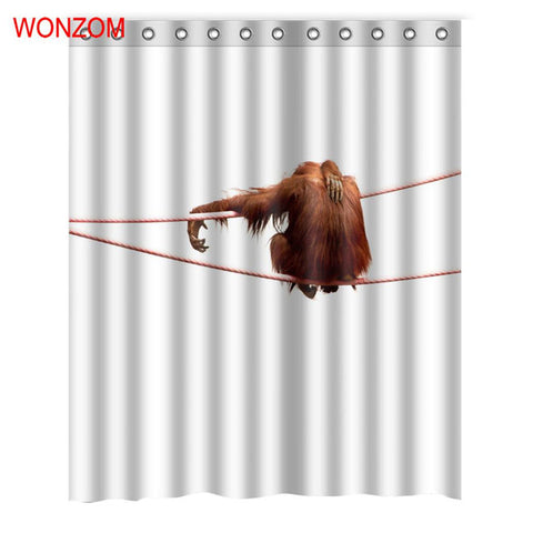 Monkey Shower Curtains With 12 Hooks Waterproof Curtain Accessories
