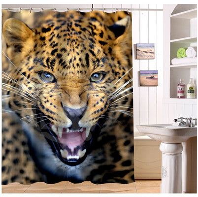 Custom Leopard Shower Curtain Modern Bathroom Polyester Fabric Beautiful Curtains Bath Screens