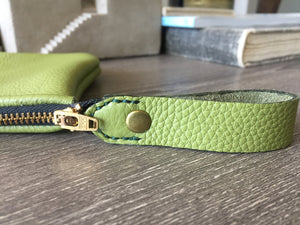 Green Leather Utility Clutch