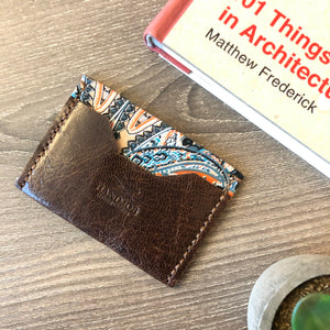 Fabric & Leather Small Wallet Motif