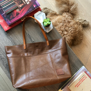 Classic Cognac Leather HJ Tote Bag