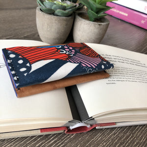 Red and blue flowers leather wallet
