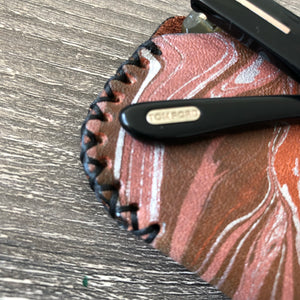 British Tan Marbled Leather Sunglasses Case