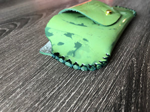 Green Art Leather Sunglasses Case