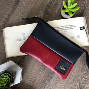 The American Red and Blue Leather Clutch