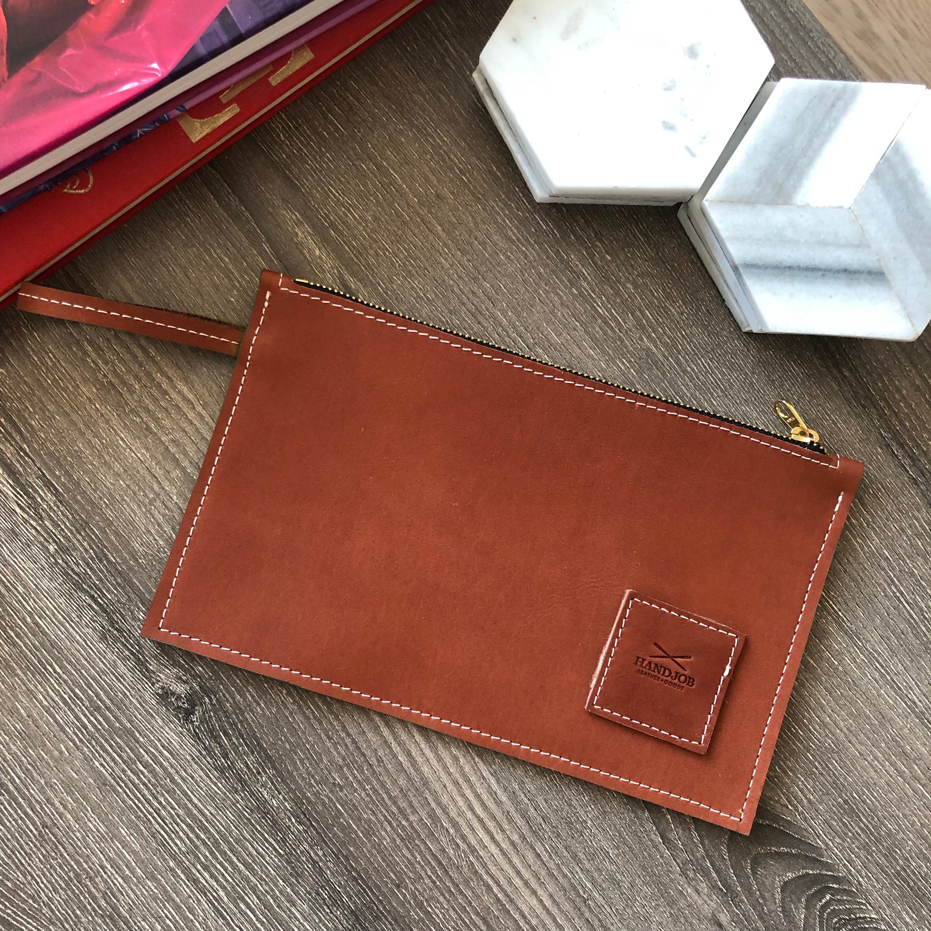 Classic British Tan HJ Leather Utility Clutch
