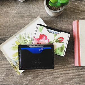 Classic 3 pockets Card Wallet Black & Flowers