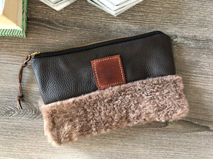 Leather & Fur Utility Clutch