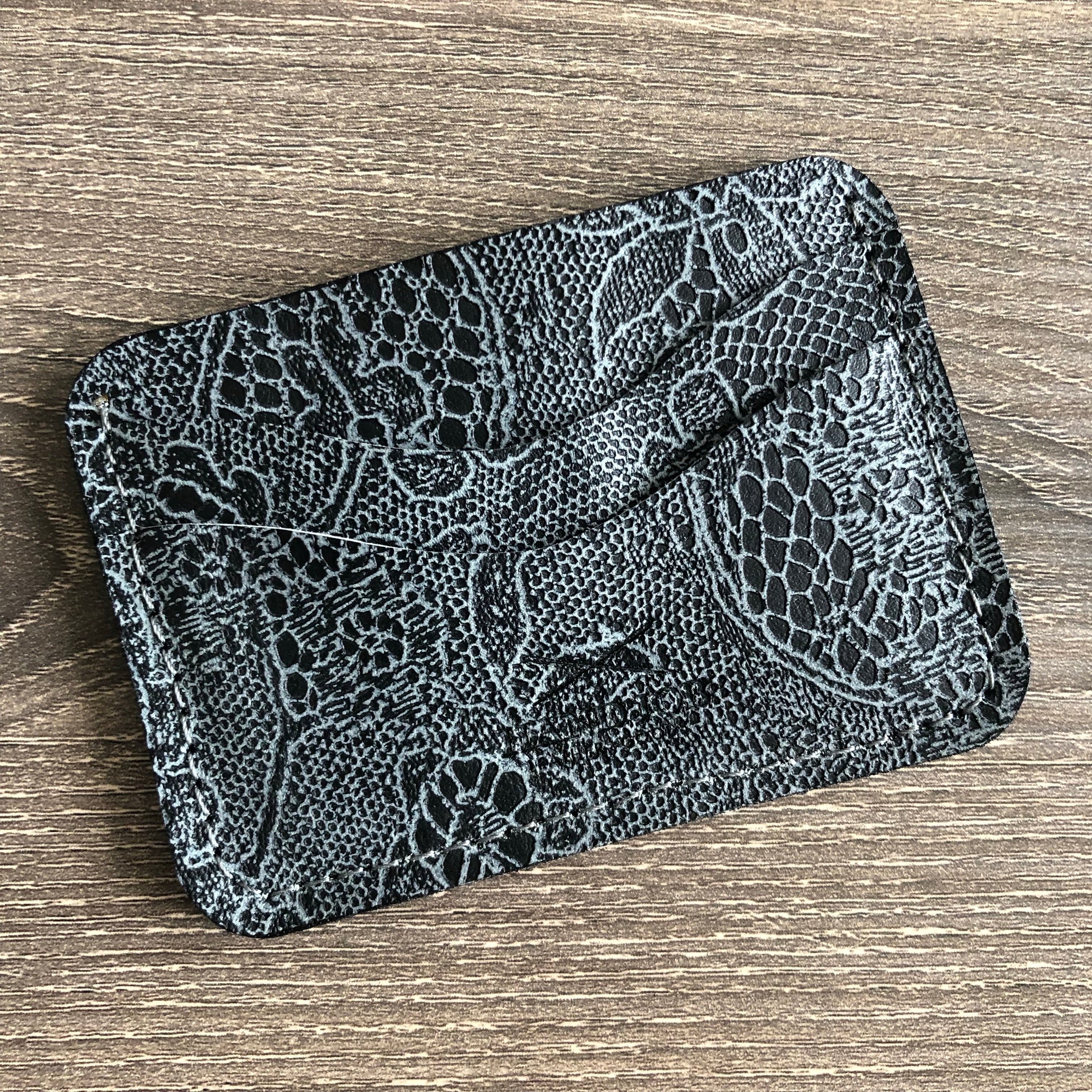 Classic 4 pockets Card Wallet Black Embossed Leather