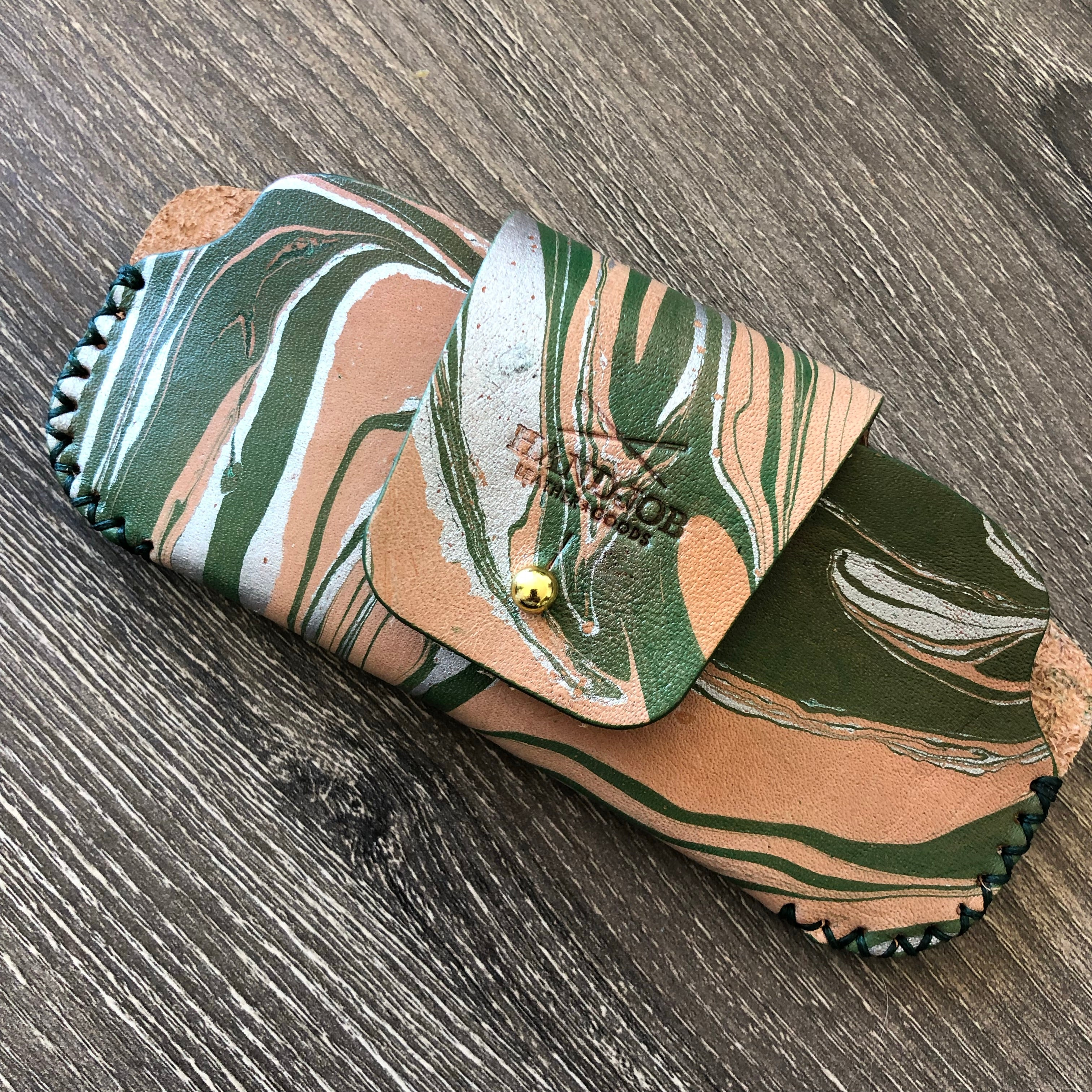 Green Marbled Leather Sunglasses Case