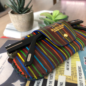 Multicolored Thin Strokes Sunglasses Leather Case