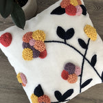 Punch Embroidered Spring Flowers Pillow