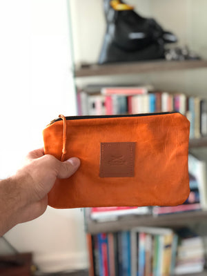 Orange Leather Utility Clutch