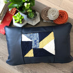 Navy Blue Leather & Textile Detail Lumbar Pillow
