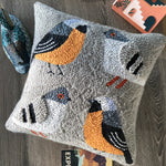 Punch Embroidered Grey Birds Pillow