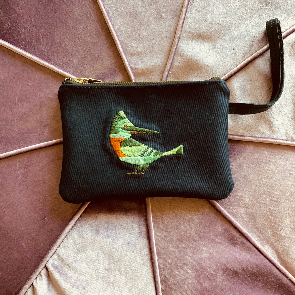 Embroidered Bird Navy Leather Clutch